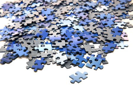 elements of a blue puzzle on a white background Standard-Bild