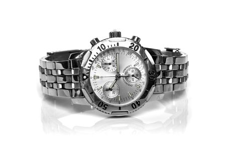 high end: used silver watch isolated over a white backgtound Stock Photo