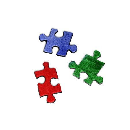 three colored elements of puzzle isolated over a white background photo