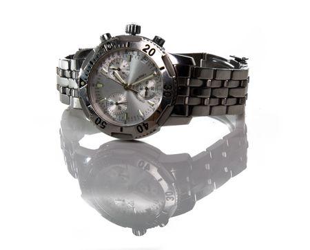 Verwendet Silber Uhr isoliert über eine weiße backgtound Standard-Bild - 4811839
