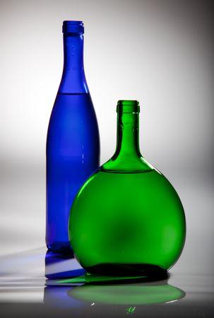 two white wine bottles photo