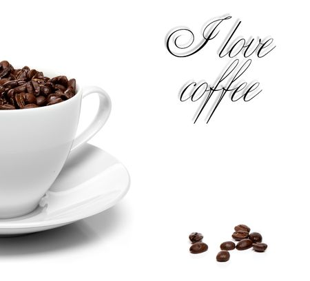 cup of coffee beans isolated over white background Standard-Bild