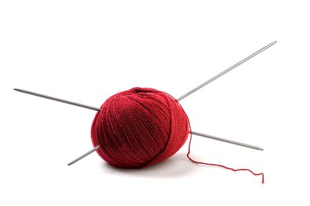 ball of knitting isolated over white background photo