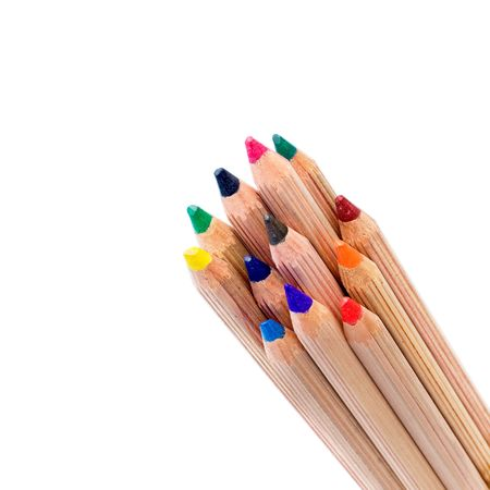 colored pencils isolated over white background photo