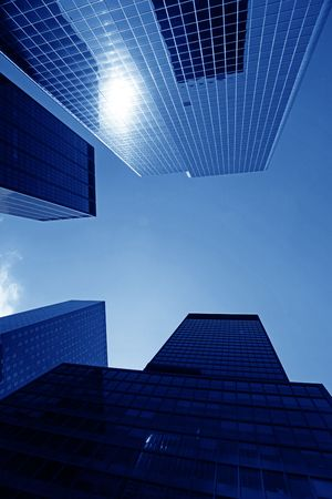 Modern skyscrapers close-up toned in blue color Stock Photo - 5126130