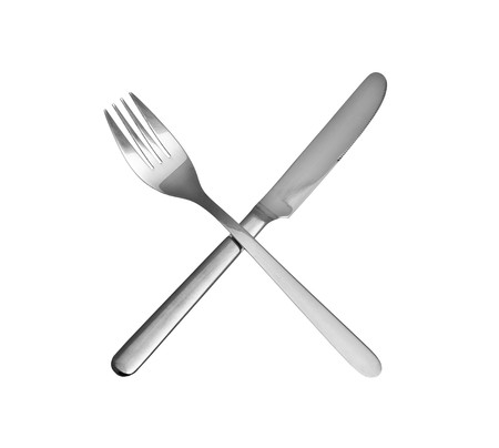 knife and fork isolated over white background photo