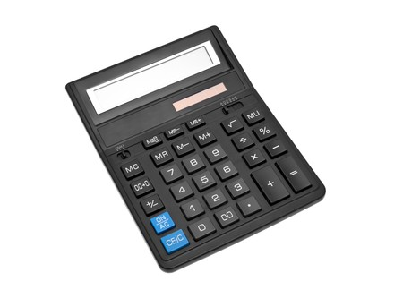 subtraction: black office calculator isolated over white backghound
