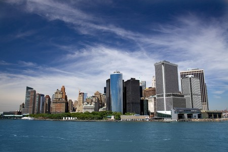 manhattan mirror new york: Panorama of the city on a clear day Stock Photo