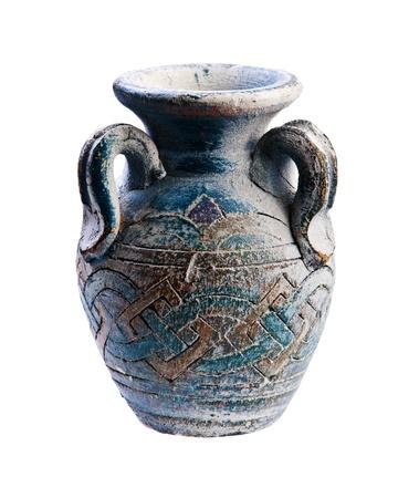 oldened: antique vase isolated over white background
