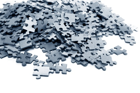 completed: elements of a blue puzzle isolated over a white background Stock Photo