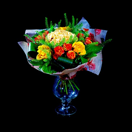 Beautiful red and yellow roses isolated on white background Stock Photo - 8869819
