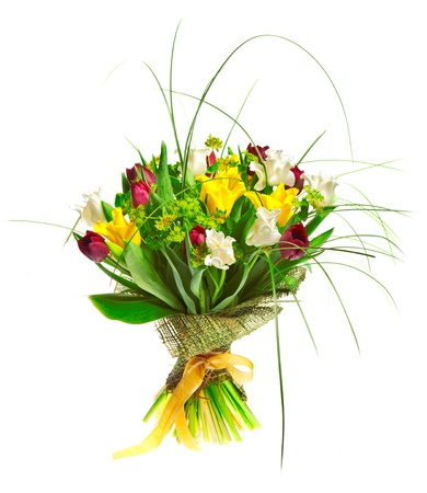bouqet: Beautiful tulips isolated on white background Stock Photo