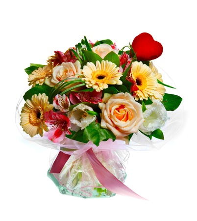 bouquet of lilias, roses and gerberas isolated over white background photo