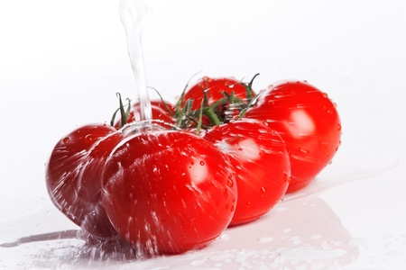 fresh tomatoes under pouring water photo