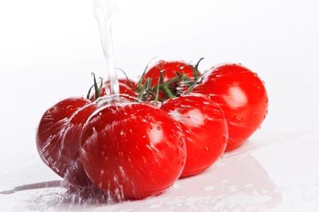 fresh tomatoes under pouring water Standard-Bild