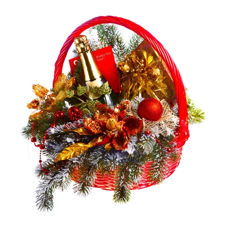 flower baskets: Christmas gift basket on white background