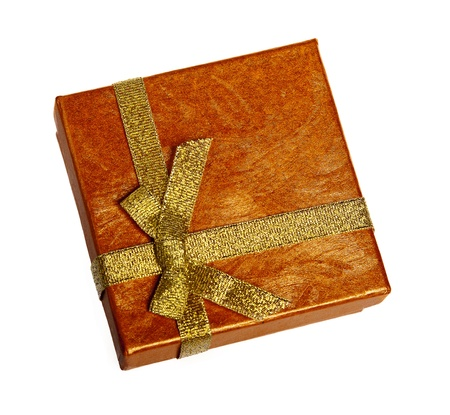 Christmas box with gold ribbon photo