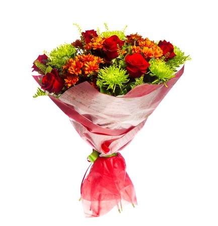 Bouquet of gerberas, roses and chrysanthemums photo