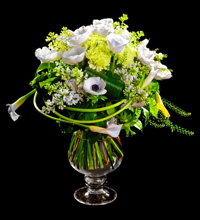 florists: bouquet of calla lilias and roses