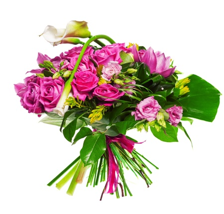 florist: bouquet of calla lilias and roses