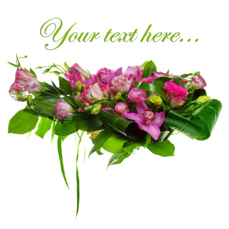 composition of roses, cymbidiums and lisianthus photo
