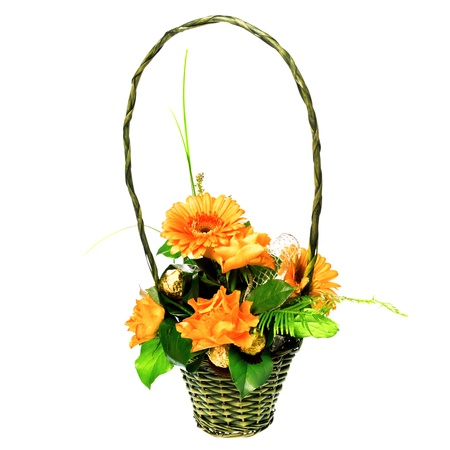 bouquet of roses and gerberas in basket photo