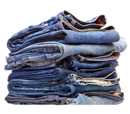 stack of blue denim clothes photo