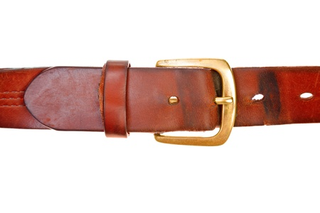 outworn: used broun leather belt Stock Photo