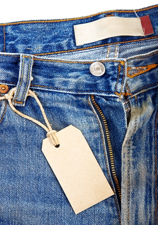unbuttoned: unbuttoned blue jeans with paper label