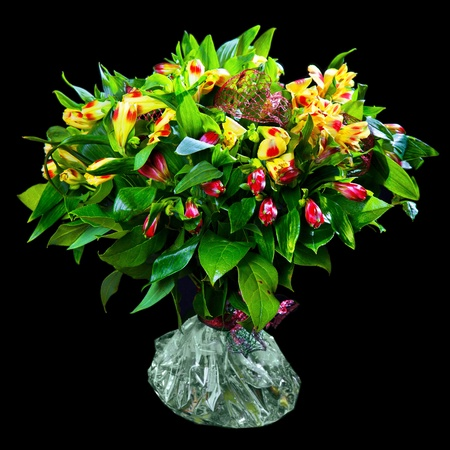 bouquet of red and yellow alstroemeria photo