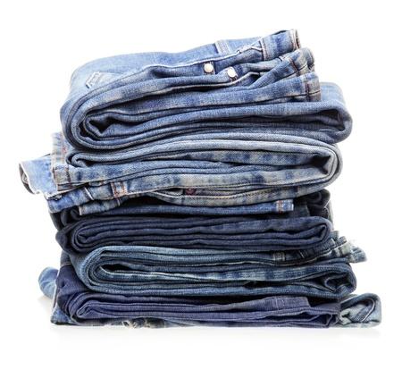 stack of blue denim clothes Standard-Bild