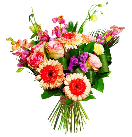 bouquet of roses, gerberas and alsrtomerias photo