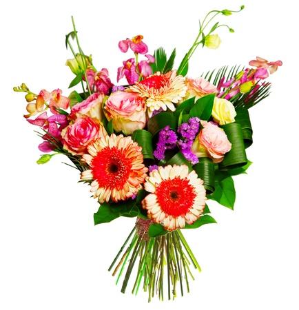 bouquet of roses, gerberas and alsrtomerias photo