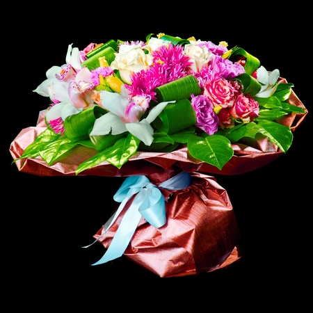 bouquet of lilias,  roses and chrysanthemum photo