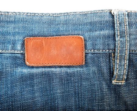 Leeren Leder-Label auf Jeans genäht Standard-Bild - 12843170