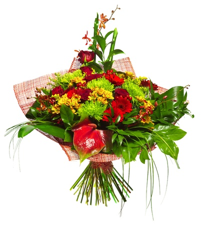 golden daisy: bouquet of gerberas, roses and chrysanthemums