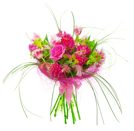 aqua flowers: bouquet of tulips and roses