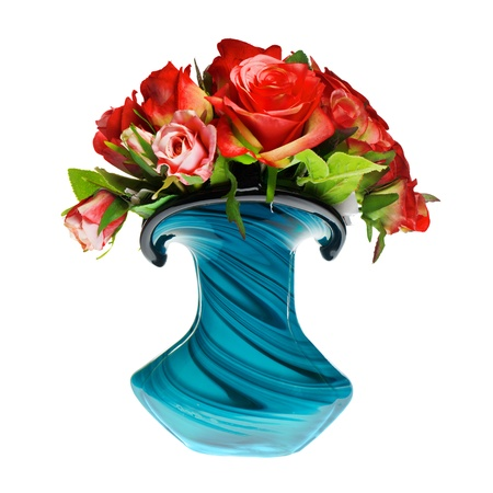 bouquet of red roses in the vase photo