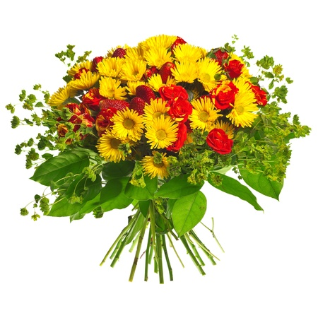 Blumenstrauß aus Gerbera, Rosen und Erdbeeren Standard-Bild - 13125719