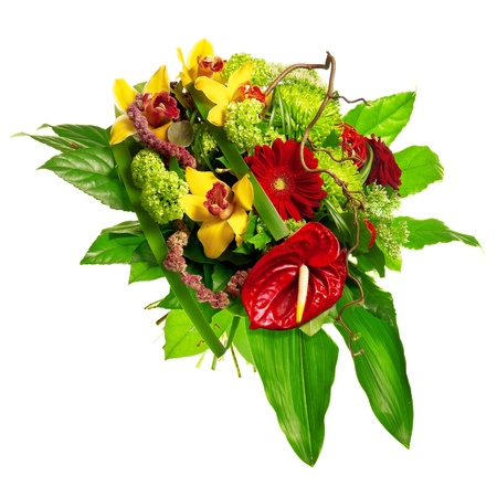 golden daisy: bouquet of gerberas, lily and anthurium Stock Photo