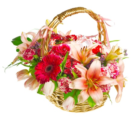 orange rose: gift basket of lilias, roses and gerberas