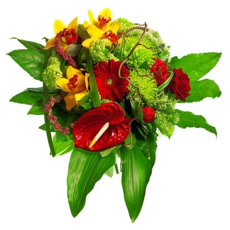 Blumenstrauß aus Rosen, Lilien und Anthurien Standard-Bild - 13307183