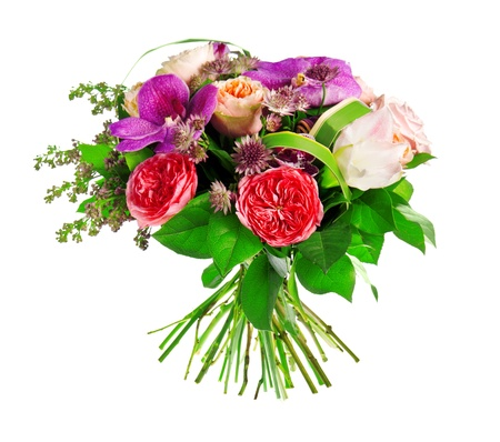 anthurium: bouquet of rose, Paeonia(peony) and orchid