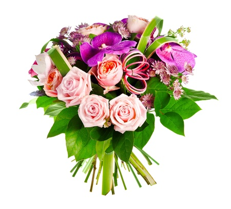 bouquet of rose, paeonia and orchid Standard-Bild