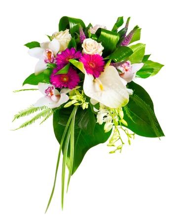 arreglo floral: ramo de rosas, gerberas, anturios y orquídeas Foto de archivo