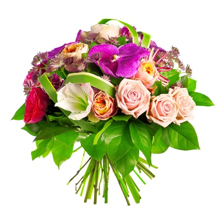 bouquet of rose, paeonia and orchid photo