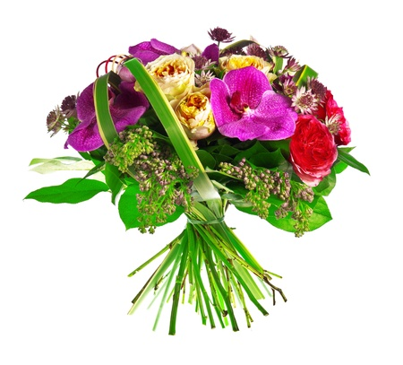anthurium: bouquet of rose, paeonia and orchid Stock Photo