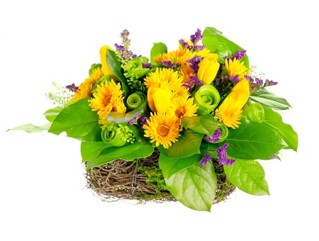 Korb mit Rosen, Tulpen und limonium Standard-Bild - 13623061