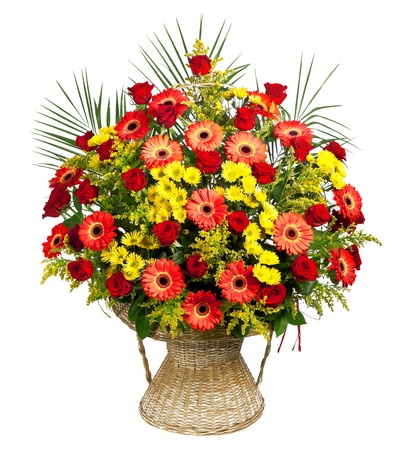 bouquet flowers: basket of roses, gerberas and palm leaves