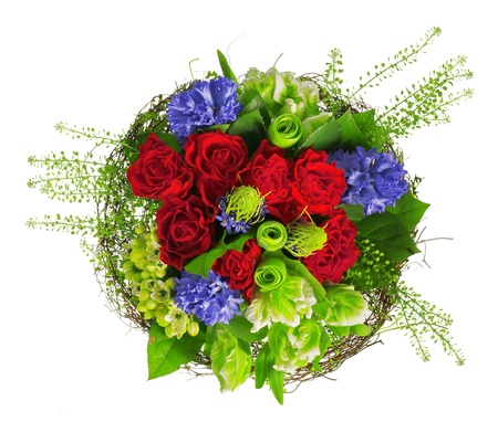 bouquet of roses, hyacinthus and greens Stock Photo - 13757733